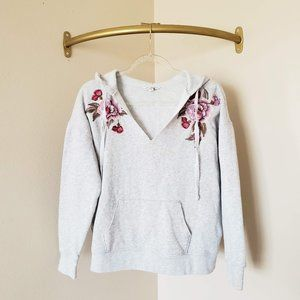American Eagle Floral Embroidered Hoodie Grey Pink